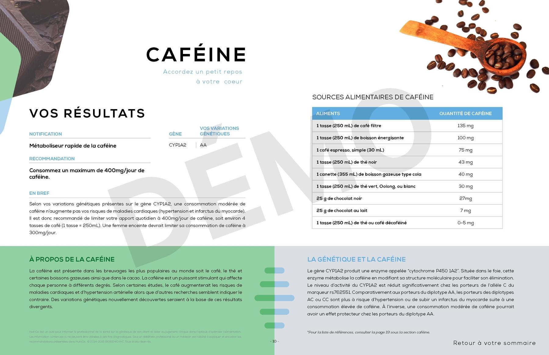 Rapport profil Nutrition Caféine