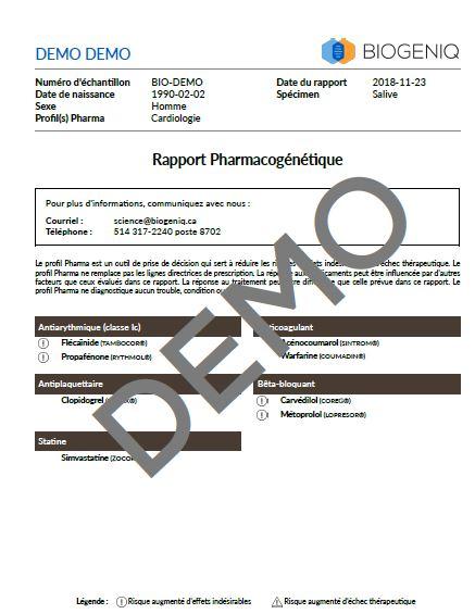 Aperçu du bilan profil Pharma Cardio