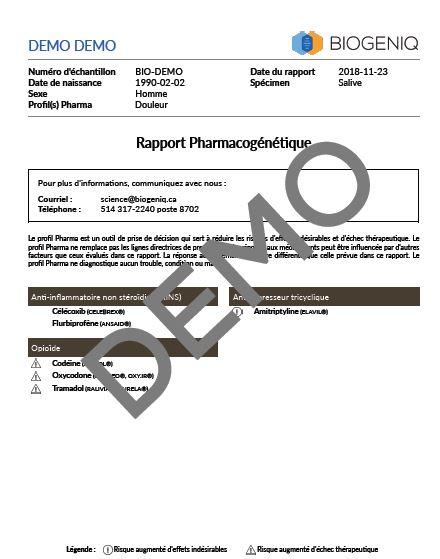 Aperçu du bilan profil Pharma Douleur