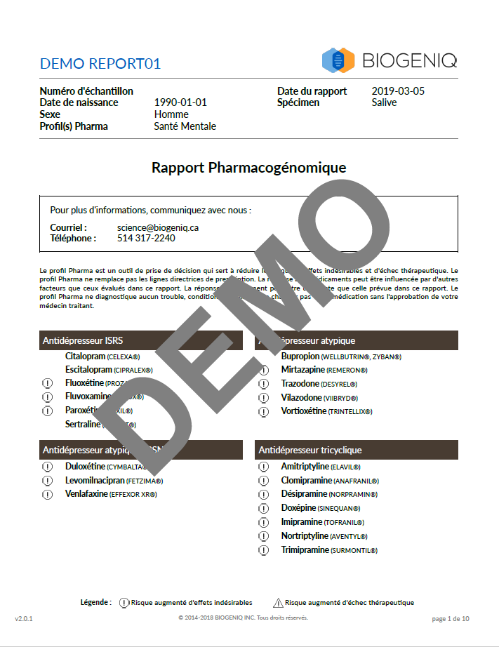 Aperçu du bilan profil Pharma Santé Mentale